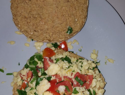 Pan chia bread, scramble eggs(eggs, tomatoes, parsley, salt)