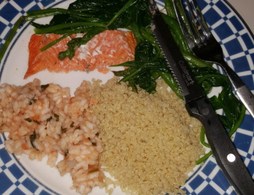 Basmati Brown rice, Tomatoes Risotto(arborio white rice, parsley, tomatoes, homemade broth, basil, white wine, kale), Sockey Salmon(salt, Rosemary), Spinach(salt), Asparagus(cooked, olive oil, salt, Ginger powder)